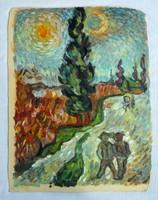 Vincent van Gogh Út ciprussal című festményének másolata. Jelzés nélkül