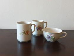 Drasche Kőbányai Zsolnay virágos retro porcelán csésze bögre pohár csomag sérültek