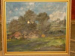 Eladó szignózott (beazonosítatlan) magyar festő olajvászon festménye