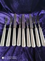 Antik ezüst (13. latos) markolatú desszertes (8db) kés, villa szett