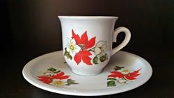 Pótlásnak. Zsolnay mikulásvirágos kávés, mokkáscsésze, csészealjjal együtt.
