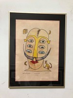 """Ef zámbó istván (1950-) ebp. """"Dali with crampus"""" rare ebp.Gallery frame size: 40 x52.5 Cm."""