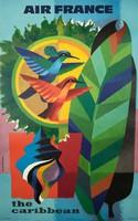 Art deco utazási reklám plakát reprint nyomat 1930 Karib tenger szigetek színes toll kolibri madár