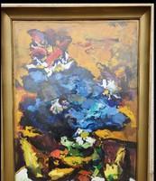 Vilhelm Károly - Kék virágos csendélet