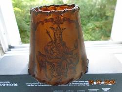 Középkori Kódex KIRÁLY mintával antik PERGAMENT lámpaernyő bőr szegéllyel