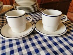 Alföldi porcelán kék csíkos reggeliző szett. Nagy kakaós bögre tányérral együtt