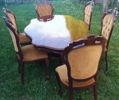 Neobarokk étkezőgarnitúra 6 székkel