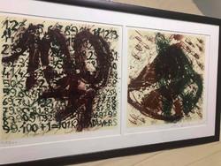 Róbert Swierkiewicz (1942-2019) '100 + 1kányádi poems' 1993 lithography duo framed: 80.5 X 45.5 Cm.