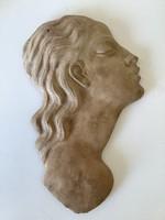 Ritka art deco kerámia fali maszk. Budai Műhely Kerámia G L szignóval