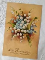 Régi grafikus képeslap//üdvözlőlap, virág, gyöngyvirág, nefelejcs 1936