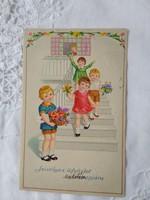 Vintage grafikus gyerekmotívumos képeslap/üdvözlőlap kislány, kisfiú, virágok 1931