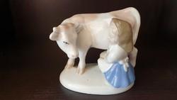 Tehenet fejő  lány, régi ritka porcelán figura.