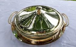 Üveg betétes ezüstözött fém tálaló