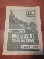 Színházak bérleti műsora 1971-1972