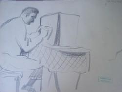 Gyenes Gitta (1888 - 1960) Rádiót hallgató  grafit, papírlemez 240 x 160 mm Jelezve jobbra lent: Gye