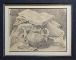 Nagy Oszkárnak tulajdonított: Csendélet könyvvel és teás kancsóval, ceruzarajz
