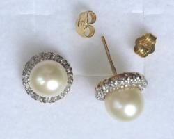 Fehér- és Sárgaarany 585/ 14 k Gyöngy Gyémánt