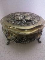 ANTIK ezüst német ROSENAU AUSBURG NÜRNBERG doboz cukordoboz bonbonier aranyozott