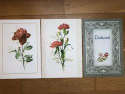 3 db régi Dísztávirat - ( 2 db Gonda Zsuzsa és Rozs Endre virág rajzos )