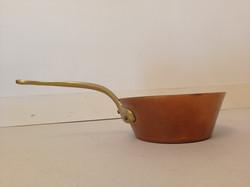 Antik vörösréz lábas sárgaréz nyéllel dekoratív konyhai edény 4171