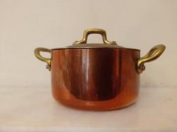 Antik ónozott kis méretű de nehéz vörösréz lábas edény sárgaréz nyél konyhai eszköz fedővel 91. 4219