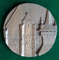 Csíkszentmihályi Róbert: Nyírbátor, 1980, bronz plakett, dombormű