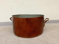 Antik konyhai eszköz nagy ónozott vörösréz nehéz lábas fazék sárgaréz fogantyúkkal 4296