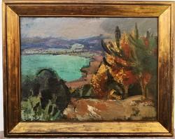 Iván Szilárd (1912 - 1988) Tihanyi belső tó .Képcsarnokos olajfestménye 107x86cm EREDETI GARANCIÁVAL
