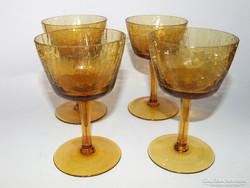 Régi, gyönyörűséges mézszínű,borostyán színű fátyol üveg,kraklé,repesztett üveg  poharak-3 db egyben