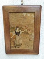 Antik Gobelin-Szövött kép fa keretben, szecesszió, különleges darab,pàrja is eladó,