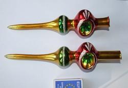 Régi üveg csillámos, foncsorozott, havas karácsonyfa dísz, csúcsdísz, karácsonyi dekoráció- darabár