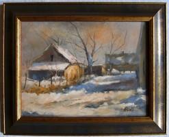 """Németh Ferenc """"Téli fények"""" c. olajfestmény keretben, ingyen postával"""