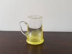Sárga Karcagi Berekfürdői fátyol üveg korsó sörös pohár bögre