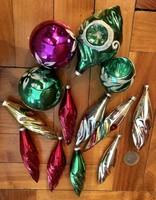 Régi retro üveg karácsonyfadísz 13 db