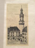TUKA LÁSZLÓ: Sopron (rézkarc, 40x58 cm, jelzett, számozott) városkép, utcakép