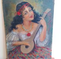 Cinka Panna jellegű (hegedű nélkül) festmény 60x80 cm Szignó: K Klimo