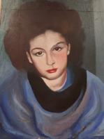Barna hajú lány portréja (olajfestmény 23,5x31 cm) női arckép