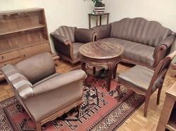 Antik, rendkívül kényelmes kanapé 2 fotellal, ülőgarnitúra