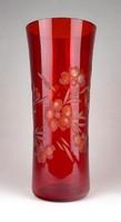 1E928 Színezett nagyméretű piros kristály váza 28.5 cm