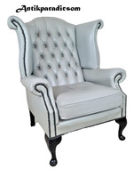 A354 beautiful original chesterfield queen anne leather armchair
