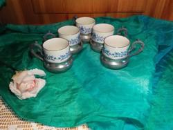 Antik,ón,  95 %Zin pohártartóban JP porcelán   pohár.