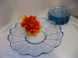 Art deco kék süteményes készlet