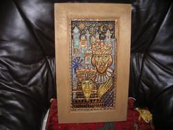 Festett domborított réz kép, Király - Királynő