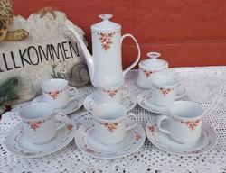 6 személyes Alföldi porcelán csipkebogyós  kávéskészlet készlet csésze kanna cukortartó, tejszínes