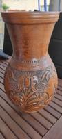 Gyönyörű kézzel készített barna váza galamb motívumokkal, makulátlan állapotú