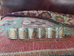 Mexikói ezüst karkötő 10 k os arany lemezekkel.