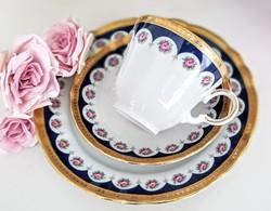 Marktleuthen Bavaria rózsagirlandos arany-kék csésze szett