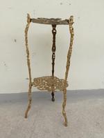 Antik 3 lábú kétszintes réz asztalka  4295