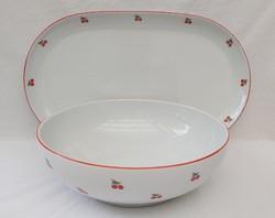 Cseresznyés alföldi porcelán  tálaló és mélytál ritka jelzéssel
