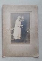 Antik esküvői fotó régi kartonfotó vintage menyasszony vőlegény fénykép